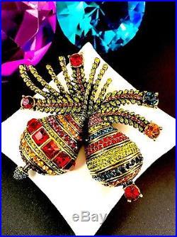 Nib Heidi Daus Holiday Ornamental Christmas Multicolor Rhinestone Brooch Pin