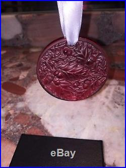 Nwt Lalique France Signed Crystal Red CHRISTMAS ORNAMENT 2016 Chene Oak