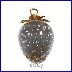 ORIGINAL BOX STEUBEN Glass 18K GOLD Top Glass STRAWBERRY PENDANT Ornamental Art
