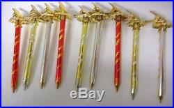 Old Lot Mercury Glass Christmas Tree Clips 9 Icicles Candles Hand Blown Twisted