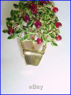 Original by Robert Christmas Tree Pin Brooch Movable Red Ornaments Perfect #1918