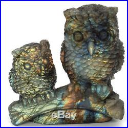 Owl Christmas Ornament Set Natural Labradorite Statue Healing Crystal Figurine