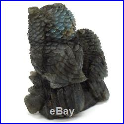 Owl Christmas Ornament Set Natural Labradorite Statue Healing Crystal Figurine