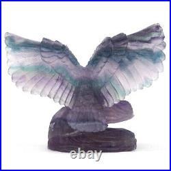 Owl Statue Natural Fluorite Gemstone Crystal Healing Reiki Home Decor Ornament