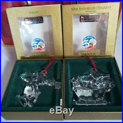 PEANUTS Snoopy Christmas Ornaments Crystal Set of 5 LENOX WATERFORD