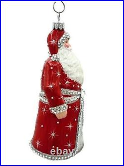 Patricia Breen Asprey Santa Red Silver Crystal Christmas Tree Holiday Ornament