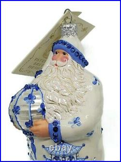 Patricia Breen Exquisite Santa Azure Blue Christmas Holiday Tree Ornament Floral