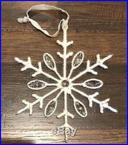 Pottery Barn Wool & Crystal Snowflake OrnamentNIBChristmas