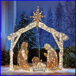 Pre-Lighted 6' Crystal Nativity With 250 Clear Mini Lights Holiday Season Ornament