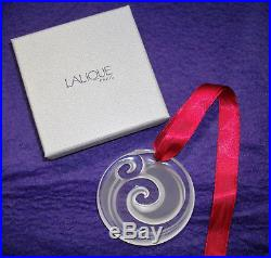 RARE! Lalique Crystal France CHINA MOOD 2008 Clear & Frosted CHRISTMAS ORNAMENT