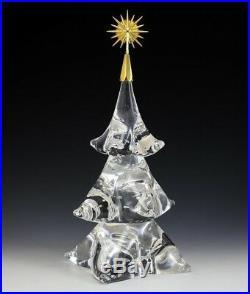 RARE NEW in BOX STEUBEN glass CHRISTMAS TREE 18K GOLD STAR ornament HOUSTON