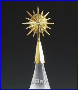RARE NEW in BOX STEUBEN glass CHRISTMAS TREE 18K GOLD STAR ornament HOUSTON art