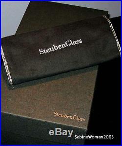 RARE NEW in BOX STEUBEN glass CHRISTMAS TREE 18K GOLD STAR ornament J HOUSTON