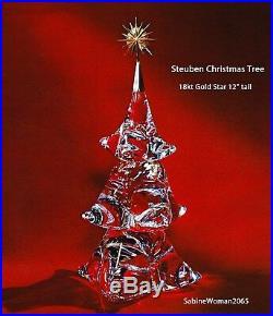 RARE NEW in BOX STEUBEN glass CHRISTMAS TREE 18K GOLD STAR ornamental HOUSTON