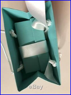 RARE TIFFANY & CO Crystal Santa's Sleigh CHRISTMAS ORNAMENT GIFT BAG/RIBBON NEW