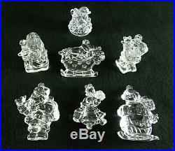 Rare Antique BACCARAT Flawless Crystal Set 7 x Christmas Ornaments & Figures