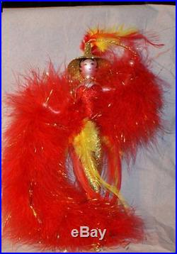 Rare FLASHY showgirl Christmas ornament blown glass feather figural rare Italy