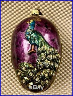 Rare Jay Strongwater Peacock Egg Swarovski Crystals Christmas Ornament 2003