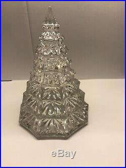 Rare Large Waterford Clear 6 1/2 Christmas Tree Crystal Decoration