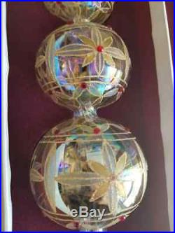 Rare NOS Waterford Crystal Blown 18 Jim O'Leary Gold Optic Christmas Tree Top