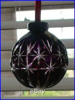 Rare Waterford Crystal Amethyst Ball Christmas Tree Ornamnet