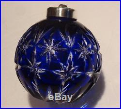 Rare Waterford Crystal Christmas Ornament Ball Cobalt Blue In Original Box