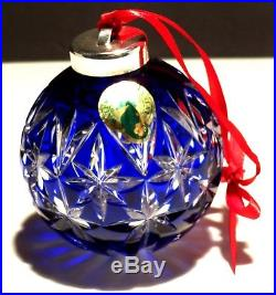 Rare Waterford Crystal Cobalt Blue Ball Christmas Tree Ornament