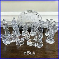 Rare Waterford Crystal Nativity Set Manger Scene 15 Pieces Signed Manger XMAS