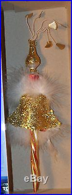 Rare pixy showy girl Christmas ornament blown glass feather figural rare Italy