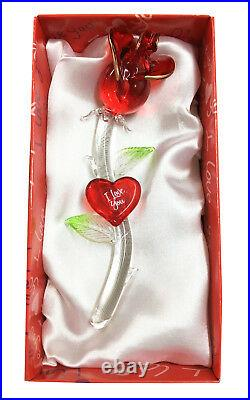 Red Crystal Rose Gift I LOVE YOU Ornament Wife Girlfriend Anniversary FIANCEE