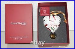 Reed & Barton 5 Golden Rings Glass Ornament Five 12 Days Of Christmas Heart NEW