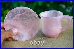 Rose Quartz Crystal Tea Cup Set Hand Carved Ornamental Gemstone Cup & Saucer