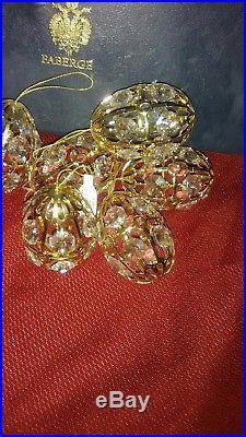 SET OF 6 FABERGE CRYSTAL PALACE EGG CHRISTMAS ORNAMENT GOLD TONE With Swarovski