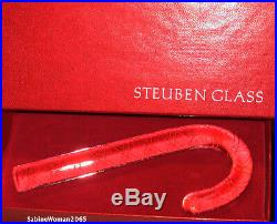 STEUBEN CANDY CANE PAIR NEW in BOX glass RED & WHITE airtwist ornaments Xmas art