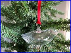 STEUBEN DOVE Glass Bird Holiday Christmas Ornament Rare #9023