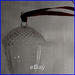 STEUBEN Glass ACORN Rare Crystal Christmas Ornament present with box & bag