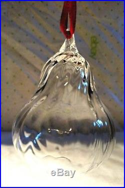 STEUBEN Glass PEAR Rare Crystal Fruit Christmas Ornament with Box and Dust Bag
