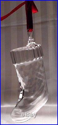 STEUBEN Glass STOCKING Rare Crystal Christmas Ornament present with box & bag