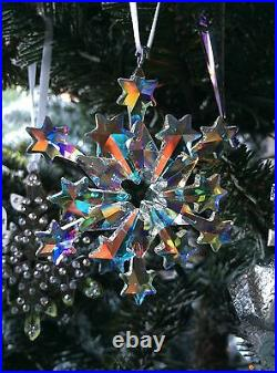 SWAROVSKI 2004 snowflake ornament AB POLAR COATING, CUSTOMIZED for mega tree