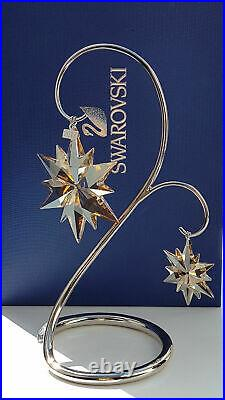 SWAROVSKI 2017 SCS member only set, large & little ornament + stand new in box