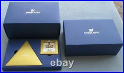 SWAROVSKI SCS 2014 GOLD STAR CHRISTMAS LARGE AND SMALL ORNAMENT SET WithHANGER