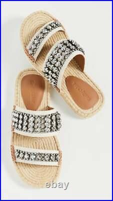 See by Chloe Kaori Crystal Flat Espadrilles Ornament Slide Sandals Shoes 39