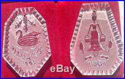 Set Waterford Crystal 12 Days of Christmas Ornaments 1982 1985 1995 Exc Cond