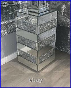 Sparkly Ornamental Decorative End Side Table Crushed Diamond Crystal Mirror