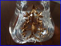 Steuben Crystal Partridge in a Pear Tree 18k Gold Xmas Ornament Paperweight