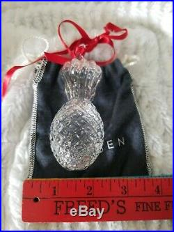 Steuben Crystal Pineapple Christmas Ornament Pouch Gift Box Vintage