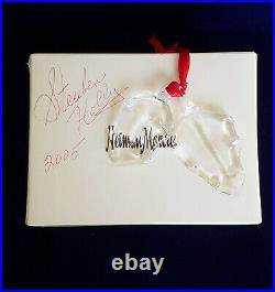 Steuben Neiman Marcus Art Glass Christmas Ornament 2005 Holly Leaves/Box