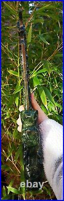 Stunning Hand Carved Genuine Jade Ornamental Knife / Sword, Not Sharp. Solid Hea