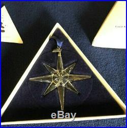 Swarovski 1995 Annual Christmas Snowflake / Star Crystal Ornament COA/ BOX