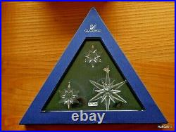 Swarovski 2005 A. E. Christmas 3 Star Snowflake Set Ornament 842602, Boxed, Cert